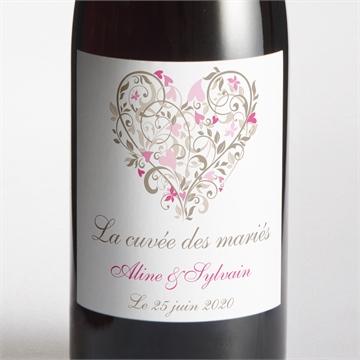 Etiquette de bouteille mariage réf. N300542
