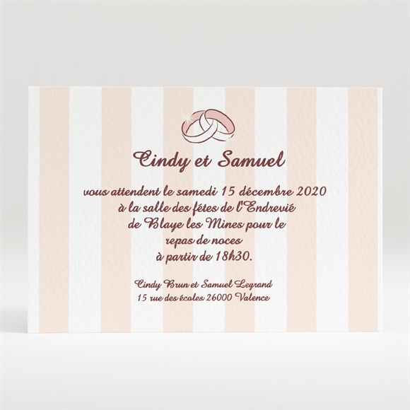 Carton d'invitation mariage Rayures blanches et beiges réf.N120133