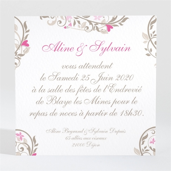 carton d 39 invitation mariage r f n300116 du faire part mariage r f n50129. Black Bedroom Furniture Sets. Home Design Ideas