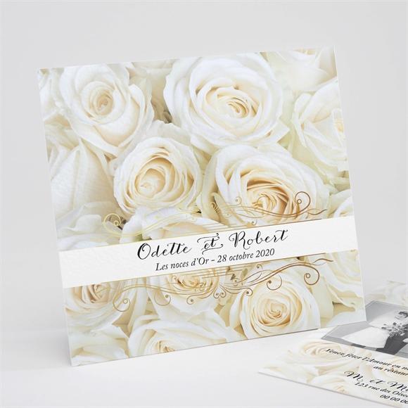 Invitation Anniversaire De Mariage Lit De Roses Blanches